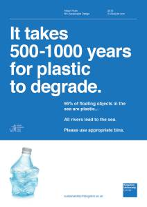 It takes 500-100 year for plastic to degrade